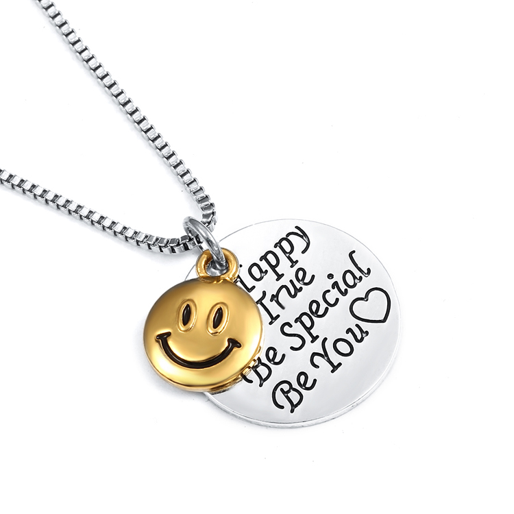 Be happy with smiley face necklace izzybell jewelry smiley face be happy be true aloadofball