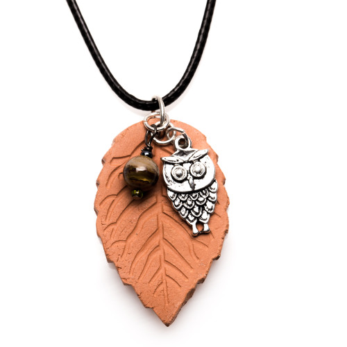 Essential Oil Diffuser Necklace Terracotta Pendant Owl