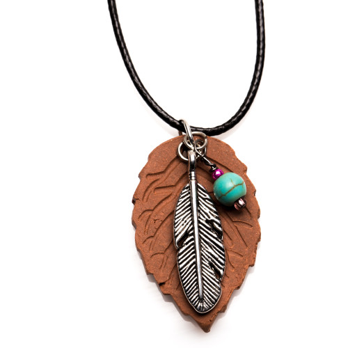 Essential Oil Diffuser Necklace  Terracotta Pendant, Feather
