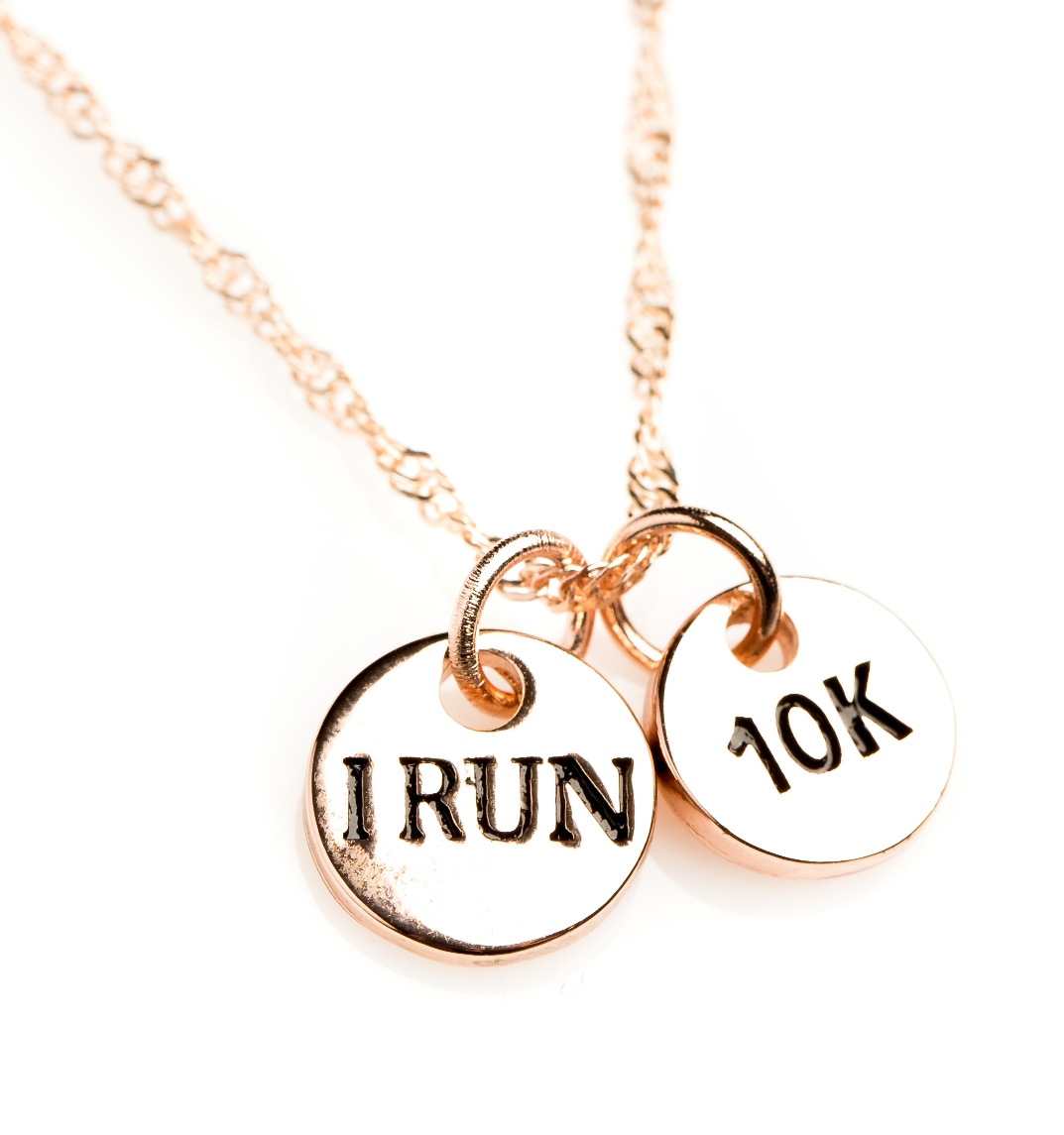 Rose gold i run 10k necklace izzybell jewelry for 10k gold jewelry