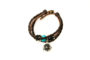 Teal Beaded Brown Leather Aromatherapy Bracelet, Izzybell Jewelry (1)