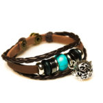 Teal Beaded Brown Leather Aromatherapy Bracelet, Izzybell Jewelry (11)