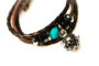 Teal Beaded Brown Leather Aromatherapy Bracelet, Izzybell Jewelry (2)