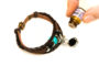 Teal Beaded Brown Leather Aromatherapy Bracelet, Izzybell Jewelry (4)