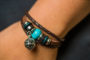 Teal Beaded Brown Leather Aromatherapy Bracelet, Izzybell Jewelry (5)