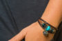 Teal Beaded Brown Leather Aromatherapy Bracelet, Izzybell Jewelry (6)
