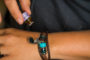 Teal Beaded Brown Leather Aromatherapy Bracelet, Izzybell Jewelry (7)